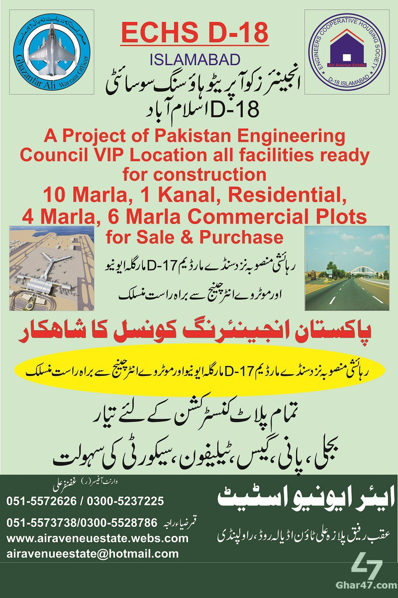 Plots for sale in Engineers Cooperative Housing Society D-18 Islamabad