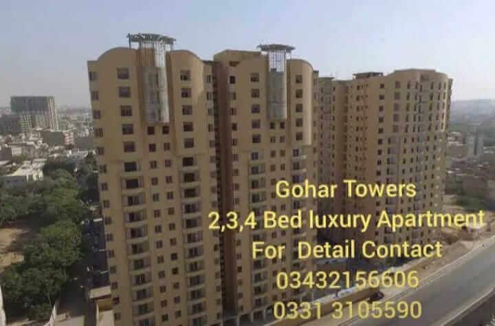 New Flat for sale in Gulshan-e-Iqbal at Gohar Towers Karachi