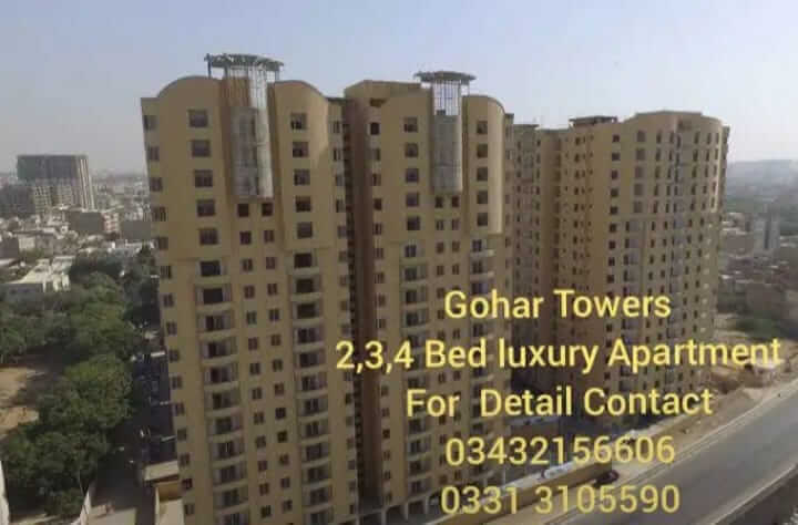 Luxury Flat for sale in Gulshan-e-Iqbal at Gohar Towers Karachi