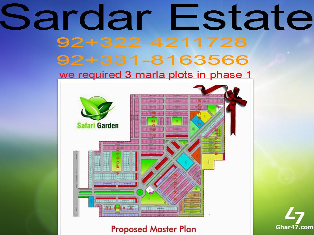 3 marla plot safari Garden required